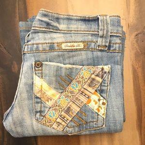 Frankie B Patchwork Zach Pocket Cornflower Jeans 2